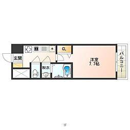 南海高野線 天下茶屋駅 徒歩7分の賃貸マンション 4階1Kの間取り