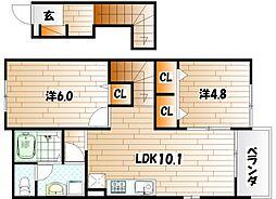 ラビアンローズII[2階]の間取り