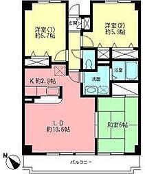 カツミコーポ大倉山[3階]の間取り