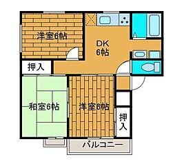 サニーハイムB[2階]の間取り
