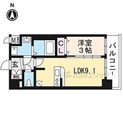 京都市営烏丸線 十条駅 徒歩5分の賃貸マンション 2階1LDKの間取り