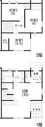 [テラスハウス] 静岡県浜松市中区和合町 の賃貸【/】の間取り