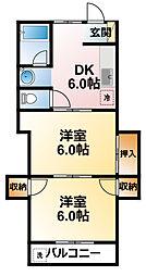 千葉県茂原市上林の賃貸アパートの間取り