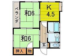 樋ノ爪コーポ[2階号室]の間取り
