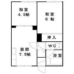 北海道札幌市豊平区美園二条5丁目の賃貸アパートの間取り