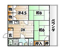 福岡県北九州市八幡東区西本町3の賃貸マンションの間取り