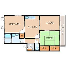 静岡県静岡市駿河区上川原の賃貸アパートの間取り