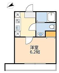 JR南武線 登戸駅 徒歩5分の賃貸アパート 2階ワンルームの間取り