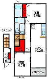 プレインコートS II棟[2階]の間取り