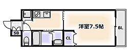 大阪府大阪市浪速区稲荷1丁目の賃貸マンションの間取り