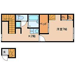 近鉄京都線 大和西大寺駅 徒歩21分の賃貸アパート 2階1Kの間取り