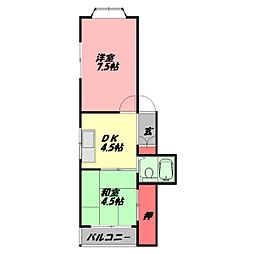 大野パレス 3階2DKの間取り