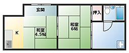 大阪府大阪市阿倍野区帝塚山1丁目の賃貸アパートの間取り