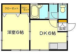 メゾン・ド・保坂 1階1DKの間取り