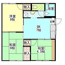 神奈川県南足柄市塚原の賃貸アパートの間取り