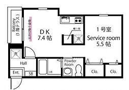 ハーミットクラブハウス トゥギャザー生麦A棟(仮) 2階1SDKの間取り