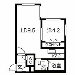 仮)南14西6MS 2階1LDKの間取り