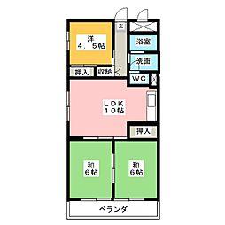 三好ハイツ[3階]の間取り