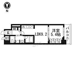 リーガル京都五条大宮202 2階1LDKの間取り