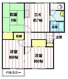 オーチャード吉田 N棟[203号室]の間取り