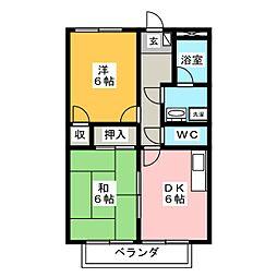 愛知県岡崎市上地6丁目の賃貸マンションの間取り