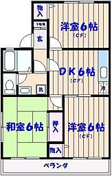 パークヒル須和田[202号室]の間取り