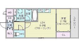 ディームス江坂駅前2 4階1LDKの間取り