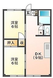 埼玉県ふじみ野市苗間の賃貸アパートの間取り