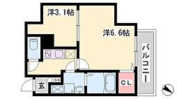 エヌエムスワサントアン 6階2Kの間取り