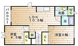 福岡県宗像市土穴2丁目の賃貸アパートの間取り
