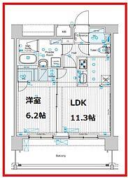 フュージョナル東墨田 6階1LDKの間取り