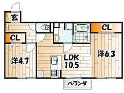 仮)D-room朽網東II[2階]の間取り