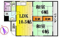 広島電鉄6系統 江波駅 徒歩6分の賃貸マンション 4階2LDKの間取り
