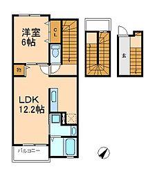 千葉県松戸市栄町1丁目の賃貸アパートの間取り