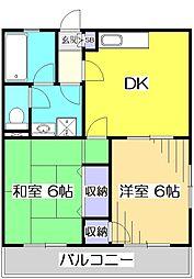東元町第2マンション[2階]の間取り