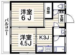 東京都世田谷区上野毛2丁目の賃貸アパートの間取り