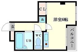 ナニワIII番館 2階ワンルームの間取り