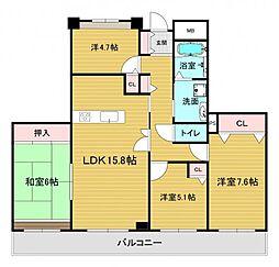 ベルマージュ堺市壱番館 25階4LDKの間取り