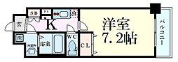 レオンコンフォート天神橋 2階1Kの間取り