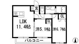 兵庫県宝塚市千種1丁目の賃貸アパートの間取り