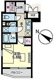 西蒲田YKマンション 5階1Kの間取り