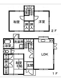 [一戸建] 愛媛県新居浜市中村4丁目 の賃貸【/】の間取り