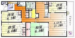 大阪府茨木市彩都やまぶき2丁目の賃貸マンションの間取り