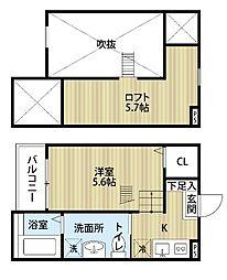 愛知県名古屋市中川区牛立町1丁目の賃貸アパートの間取り
