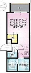 REGALESTお花茶屋 3階ワンルームの間取り