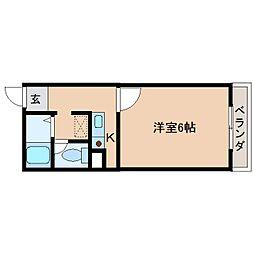 近鉄南大阪線 高田市駅 徒歩3分の賃貸マンション 4階1Kの間取り
