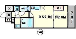 セレニテ本町reflet 5階1DKの間取り