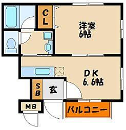兵庫県明石市材木町の賃貸アパートの間取り