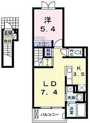 広島県福山市山手町2丁目の賃貸アパートの間取り