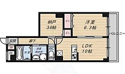 京都市営烏丸線 五条駅 徒歩4分の賃貸マンション 4階1SLDKの間取り